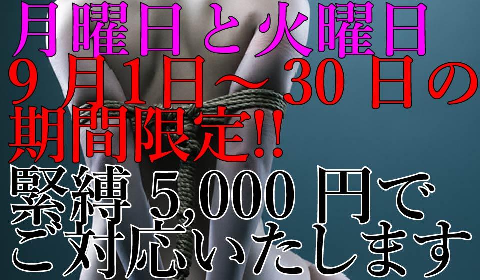 2018年9月1日〜9月30日の月曜日と火曜日間限定!緊縛料金5,000円!!
