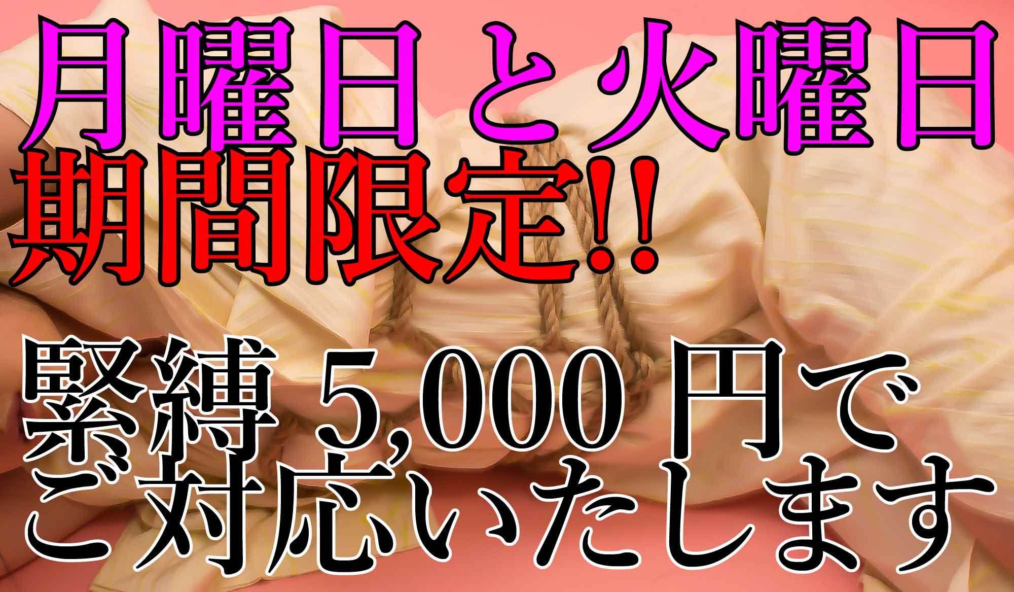 <期間限定!月曜日と火曜日のみ緊縛料金5,000円!!>