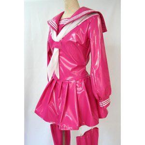 女王様エナメルセーラー 長袖 ピンク【M〜4Lサイズ】