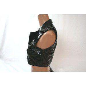 エナメル襟付きトップスブラック【M〜4Lサイズ】