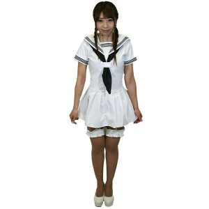 エナメルお姫様セーラー ホワイト 半袖【M〜4Lサイズ】